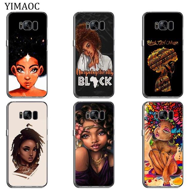 N'DJAMENA Coque de téléphone Afro Filles mince Souple Tpu Silicone Cas de Téléphone pour Samsung Galaxy S9 S8 Plus S7 Bord Note 9 8 retour Couvercle Transparent 1