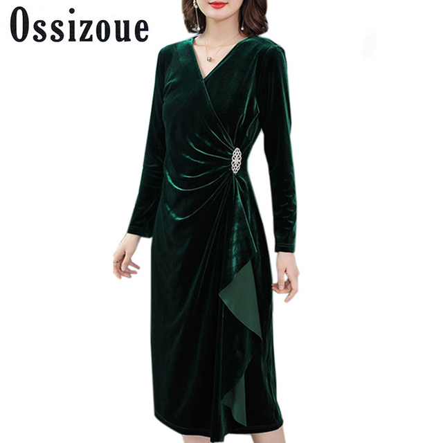 8486309efa1 Plus Size 3XL Sexy V-Neck Autumn Dress Women Green Velvet Dress Winter  Diamond Elegant