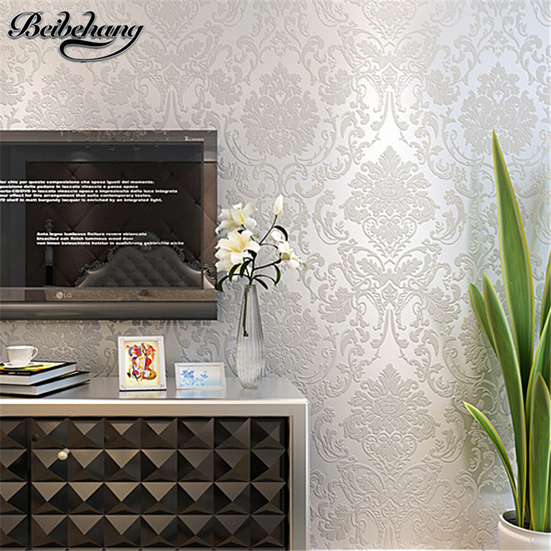 Online Shop Beibehang Thick 3D Relief Damascus Nonwovens Stereo Wallpaper Video Background Living Room Bedroom European Wallpapers