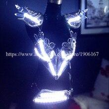 Модные с подсветкой бюстгальтер ремень Костюмы для бальных танцев Для женщин костюм Sexy Lady Танцы для ночных клубов и вечеринок Этап платье Костюмы