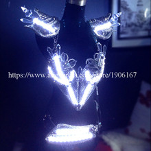 Fashion Led Luminous Vest Bra Belt Ballroom Women Costume Suit Sexy Lady Dancing Nightclub Party Stage Dress Clothing