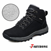 QIYHONG Big Size 39-46 Winter With Fur Men Boots, Quality Kid Suede Leather Mens 2018 New Man Rubber Booties