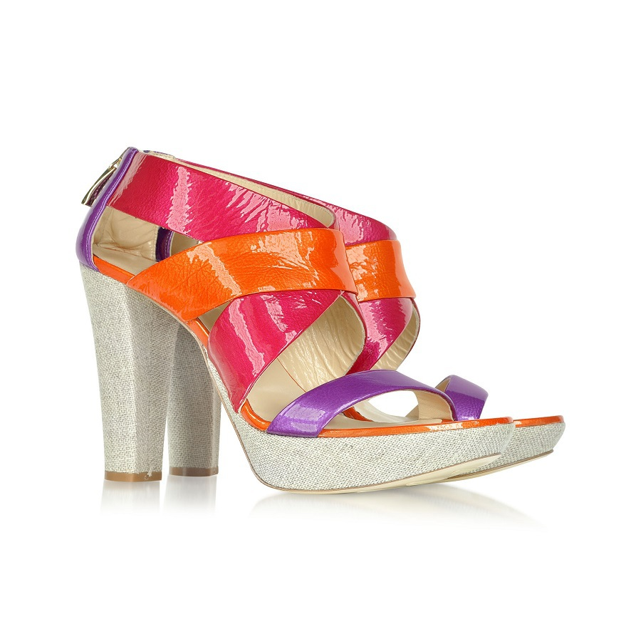 Sweety Colourful Women Sandals Square High Heels Patent Leather Platform Zip Ankle Cross Strap Cover Heels Summer Party Shoes