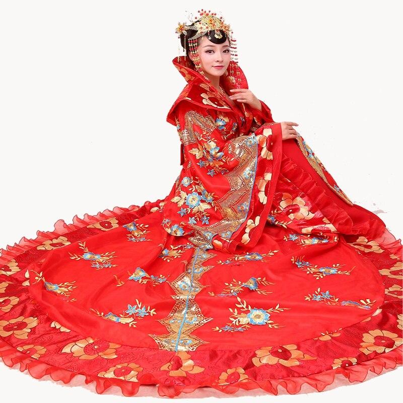 Новый драматургического платье древности династии Тан Queen шлейфом костюмы этап производительности Костюмы Для женщин Hanfu принцесса Платье