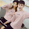 2016 Spring Autumn Men/Women Unisex Couple Casual Long Sleeved O-neck Pullover Loose Knitted Letter Printed Sweater Pink/Gray