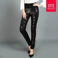 2018 Winter fashion women's genuine leather pants high waist casual Sheep skin trousers female black Stretch pencil pants L1590