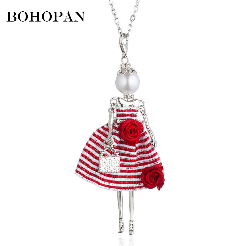 Elegant Doll Necklace For Women Stripe Dress Rose Design Alloy Crystal Pendants Necklaces Fashion Jewelry Girl Gifts Accessories