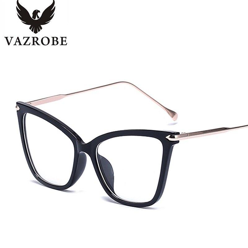 483e40a1494 Vazrobe Oversized transparent glasses women cat eye degree 0 women s frame for  optical prescription points vintage female 2018-in Eyewear Frames from ...