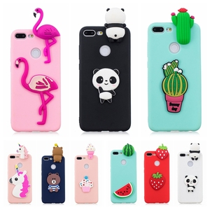 Honor 9 Lite Phone Case on Huawei P Smart Cover Funny 3D Toy Panda Cactus Soft Case for Fundas Huawei P Smart Honor 9 Lite Case(China)