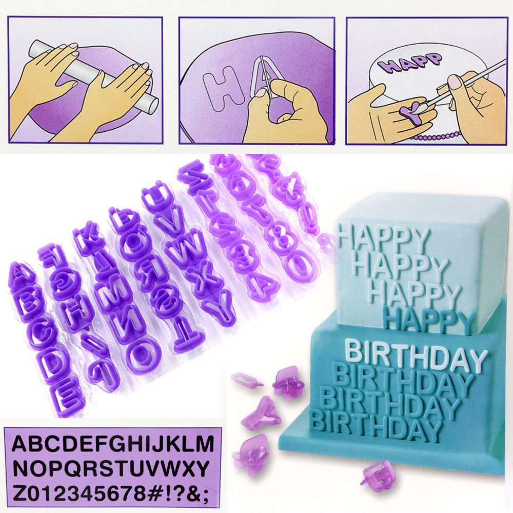 Home & Garden Kitchen,dining & Bar 40pcs Alphanumeric Symbols Printed Fondant Cake Decor Mold Tools Letters Printed Plastic Candy Mould Kitchen Accessories