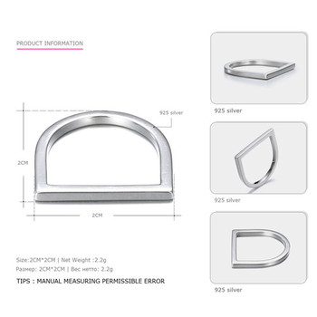 100% 925 Sterling Silver Rings For Women Minimalis Office Simple Design Ring Trendy Fine Jewelry Accessories Anillos Mujer - 6, Silver