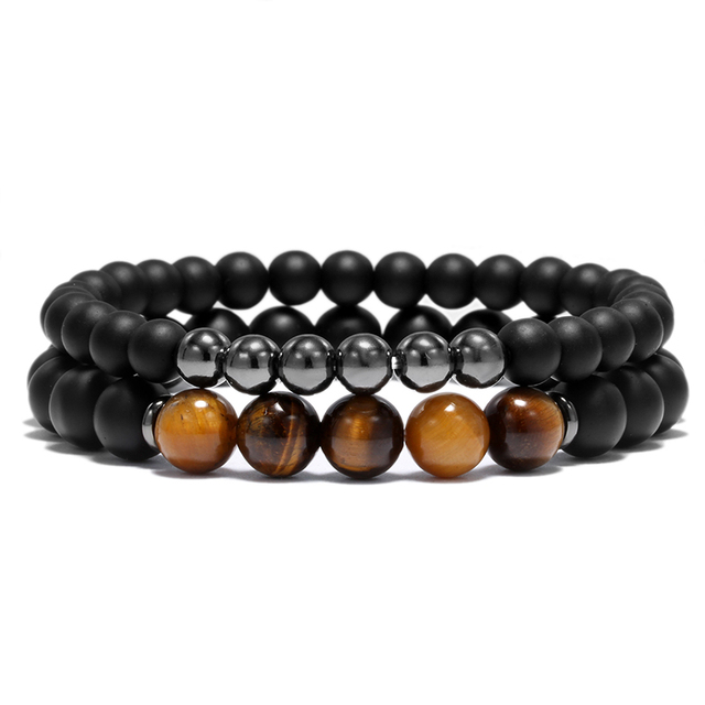 2pcs Tiger Eye Men Woman Bead Bracelet Set Black Prayer Beaded Bracelets Jewelry Dropshipping Pulseras