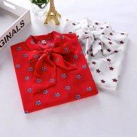 Wholesale Women Blouses Little Star Star Printed Bow Decoration Long Sleeve Shirt Female White Red Shirt