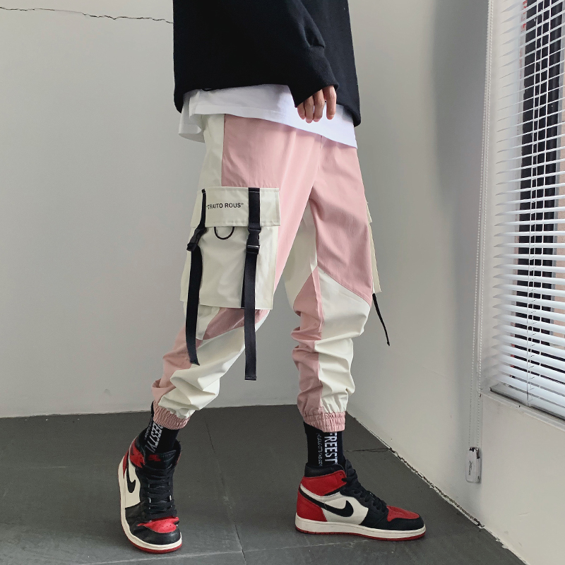 Summer Cargo Pants Men Pockets Streetwear Patchwork Pink Hip Hop Streetwear Pants Casual Loose Men's Sports Pants College LC723