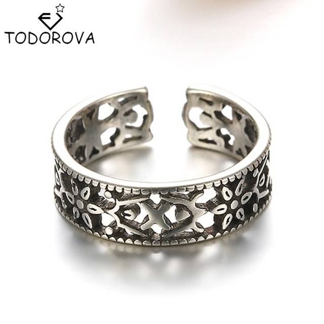 Todorova Top Quality 925 Sterling Silver Jewelry Flower Engagement Ring Sterling