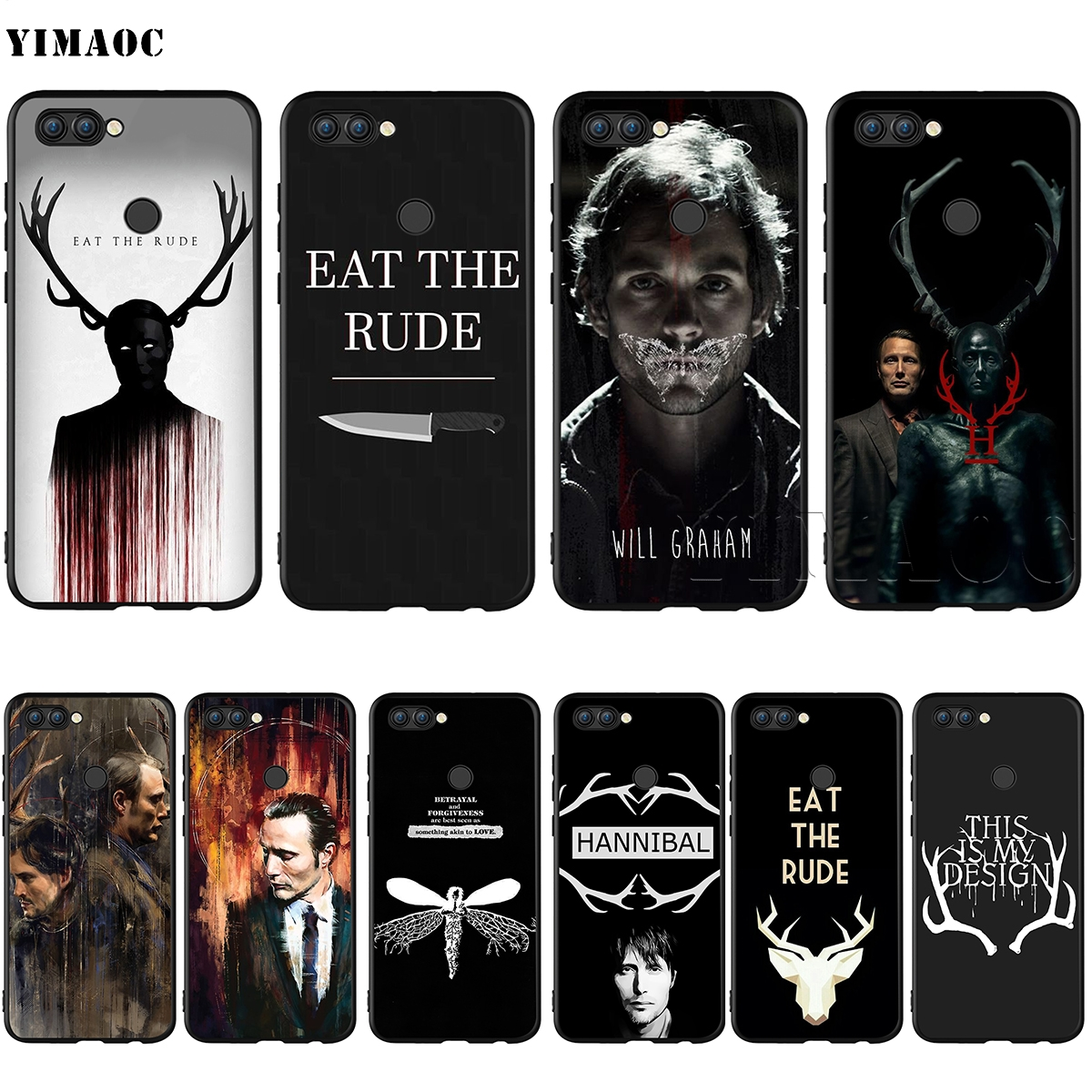 YIMAOC Hannibal Eat the Rude Silicone Case for Huawei Mate 10 P8 P9 P10 P20 Lite Pro P Y7 Y9 Smart Mini 2017 2018