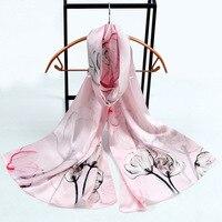 100% soie [élégant fleurs] soie satin série numérique impression écharpe avec boîte-cadeau