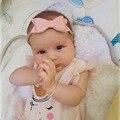 Adorável Artesanal Sólida Duas Camadas de Couro Bow Headband Com Elástico Faixa de Cabelo de Nylon Para O Bebê Meninas Boutique Acessórios Para o Cabelo