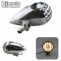 HL 023 35W Motorcycle Headlight Bullet Halogen H4 12V LED Indicators Daytime Running Light For Harley Custom Chopper