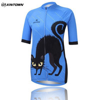 XINTOWN Women Cycling Clothing Short Sleeve Bike Blue Cat Summer Style Cycling Clthing Bicycle Jersey Top