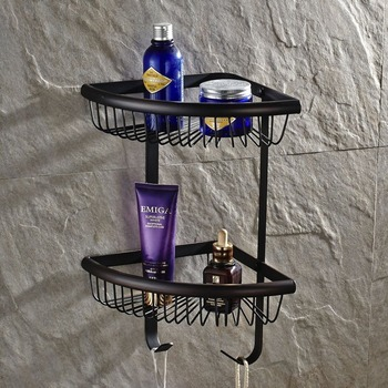 Free Shipping Wholesale And Retail Promotion Luxury Oil Rubbed Bronze Bathroom Corner Shelf Dual Tier Shower Storage Holder
