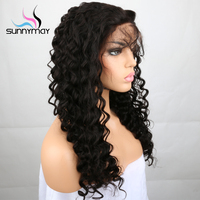 Sunnymay Pre Plucked Wigs 24inch Peruvian Loose Wave Curly Full Lace Human Hair Wigs For Black