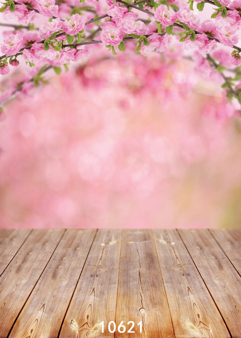 5x7ft Spring Photography Backdrop Pink Flowers Background