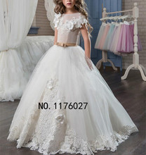 DK Bridal Vestidos De Comunion Flower Girl Dresses 3D Floral Appliques Ball Gown Backless Pageant Dresses For Weddings