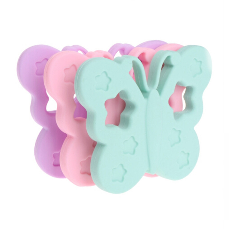 Baby Teether Silicone Butterfly Teether DIY Chewable Nursing Necklace Pendant