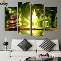 Fashion 4 panel moderm home decoration combinative canvas painting green leaf stone for beauty life F1746 free shipping
