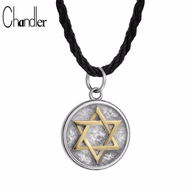 Chandler Six-pointed Star Pendant Necklace Retro Men s Colier Hexagram  Stainless Steel Jewelry Rope Chain d9503e0e34f1
