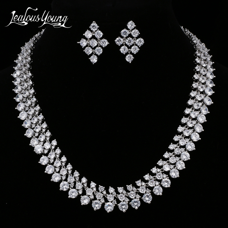 Luxury Three Row Round AAA Cubic Zircon Bridal Jewelry Sets For Women Wedding White Gold Color African Big Beads Jewelry Set Luxury Three Row Round AAA Cubic Zircon Bridal Jewelry Sets For Women Wedding White Gold Color African Big Beads Jewelry Set