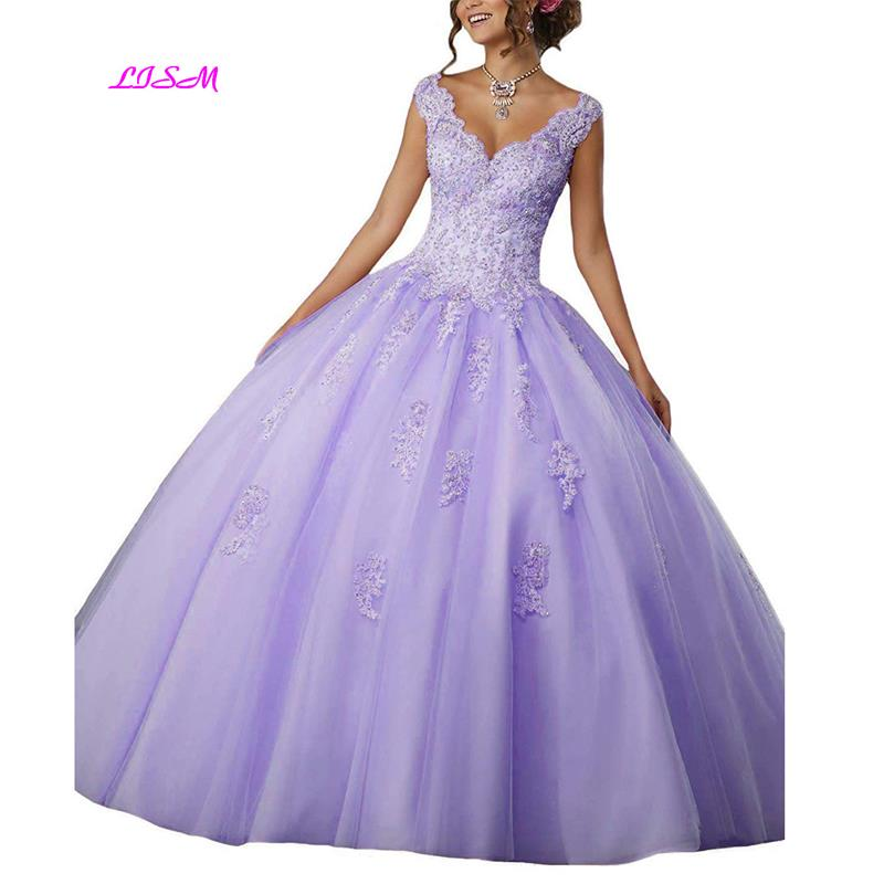 V-Neck Ball Gown Long Quinceanera Dress Appliques Beaded Tulle Prom Dresses Lace Straps Empire Party Gowns