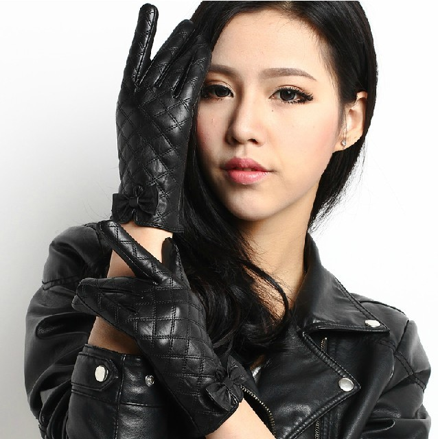 high fashion official photos utterly stylish European style bow fashion ladies leather gloves sexy warm ...