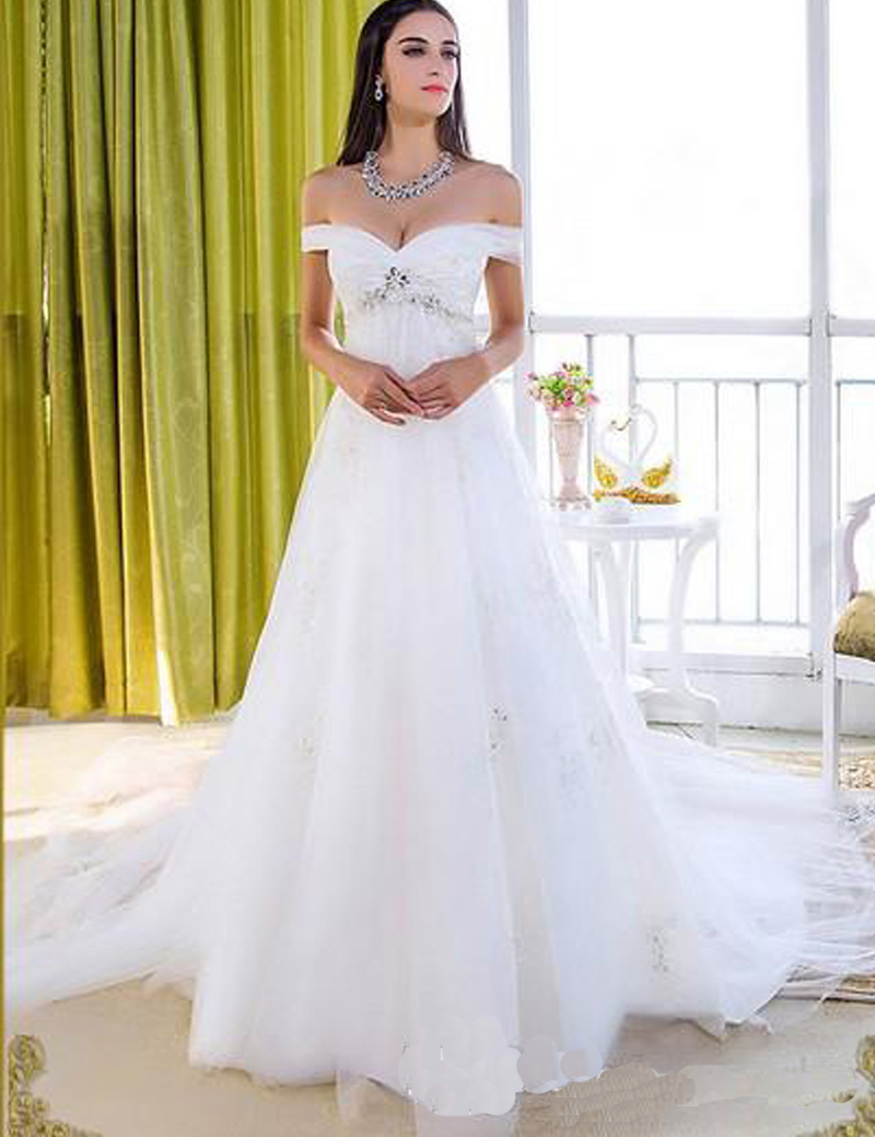 short maternity wedding dresses Off The Shoulder Vintage Maternity Wedding Dress China Ruffles Crystal Applique Pregnant Bridal Gown For Weddings Cathedral