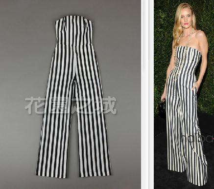 db493ec7cf6a FREE SHIP 2013 RUNWAY WOMEN linen elegant black and white striped linen  wide leg pants tube top jumpsuit Tube Jumpsuits