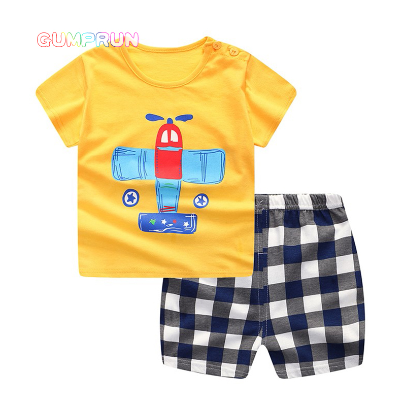 GUMPRUN Children Summer Clothing Set Cute Cartoon T shirt+ Pants 2PCS boys clothes kids Short Sleeve Cotton Toddler Girls Sets fashion summer kids boys clothing set 100% cotton short sleeve british and american flag t shirt and jeans boys clothes suits