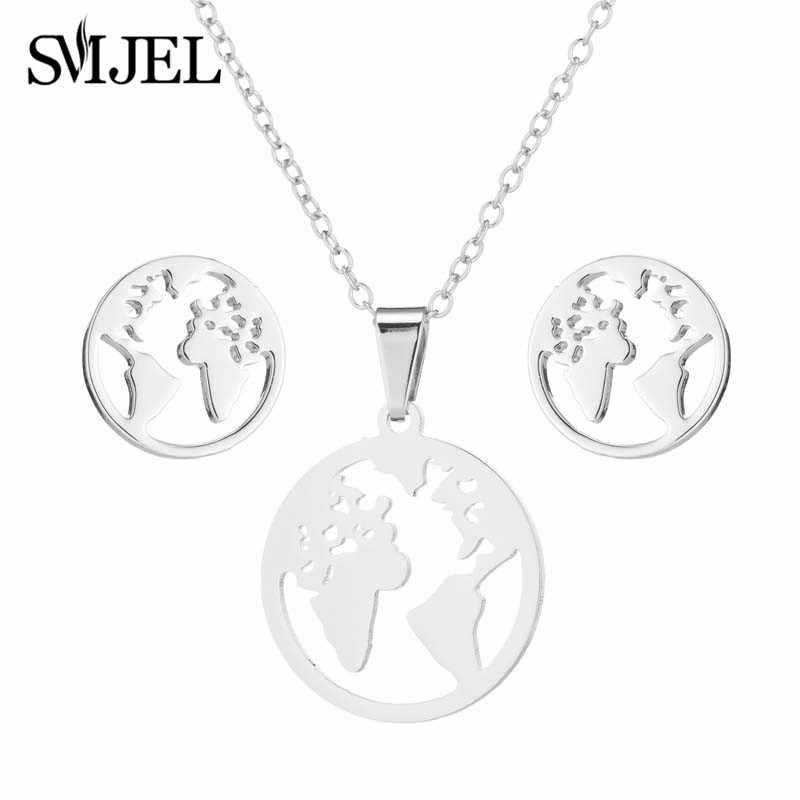SMJEL ชุดเครื่องประดับสแตนเลสสตีลอินเทรนด์ World แผนที่สร้อยคอจี้ Earth Day ของขวัญ bijoux femme Wanderlust ต่างหูกลางแจ้ง