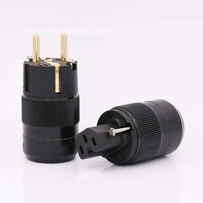 Free shipping pair 24K Gold Plated EU version Schuko AC power plug IEC power connector for audio power cable