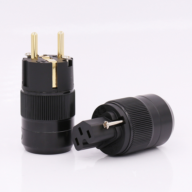 Pair 24K Gold Plated EU version Schuko AC power plug IEC power connector for audio power cable