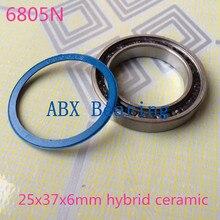 Envío libre 6805N 6805RD híbrido SI3N4 de cerámica rodamiento 25x37x6mm 6805 25376 ruedas de bicicleta de pedalier reparación rodamiento BB51