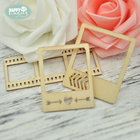 Happymems Wood Shape Frames 24pcs Unfinished Wooden Crafts Wall Sticker Household Scrapbooking Embellishments Wood Shapes Gifts