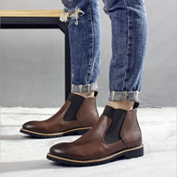 New High quality Men Martin boots Slip On Pointed Toe Chelsea Boots Genuine leather Breathable Ankle Boots Male shoes OO 96