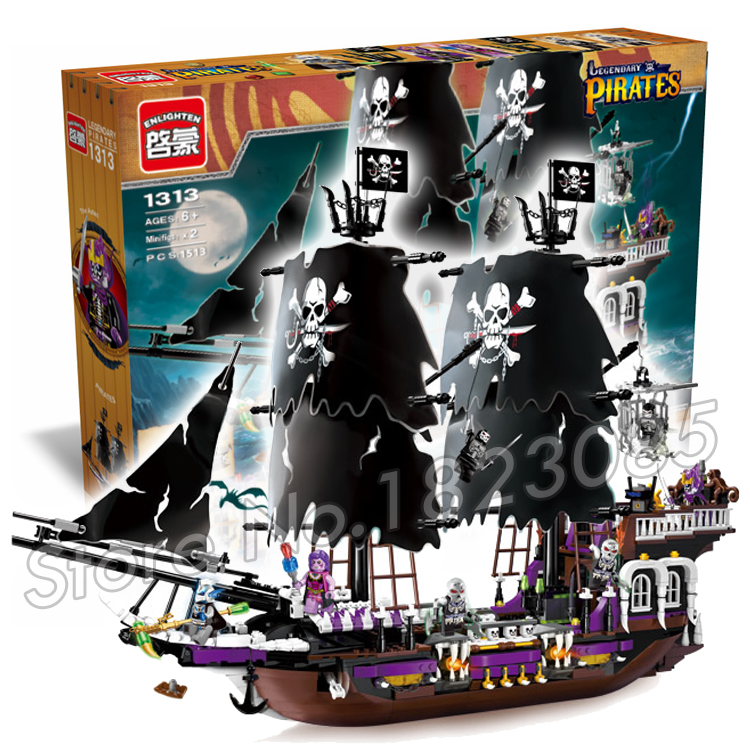 ФОТО 1513pcs 2016 new Hot New Pirates of the Black general Dark ship large model Christmas Building Blocks toys Compatible With lego