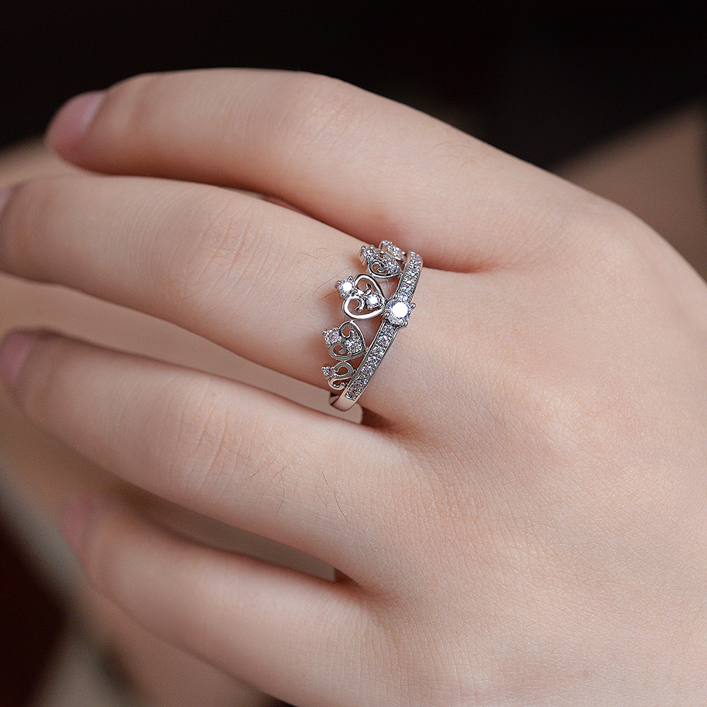 fashion crown design rings for women engagement wedding ring with ...