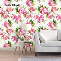 HaokHome Vintage Flower Self Adhesive Wallpaper Roll White/Pink/Green Sticker for living room Bedroom Kitchen home decoration