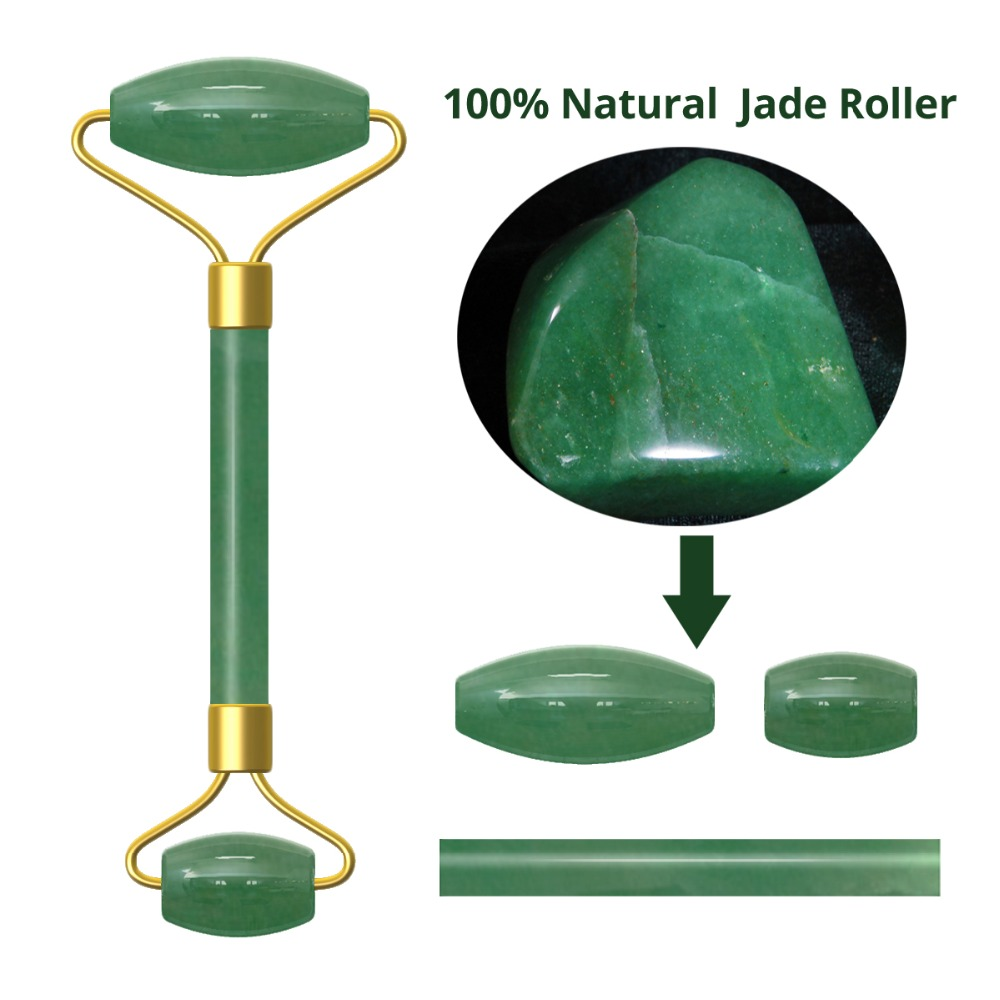Natural Facial Beauty Massage Tool Jade Roller Stone Face Lifting Tool Real Jade Facial Roller Green Jade Stone Face Slimming