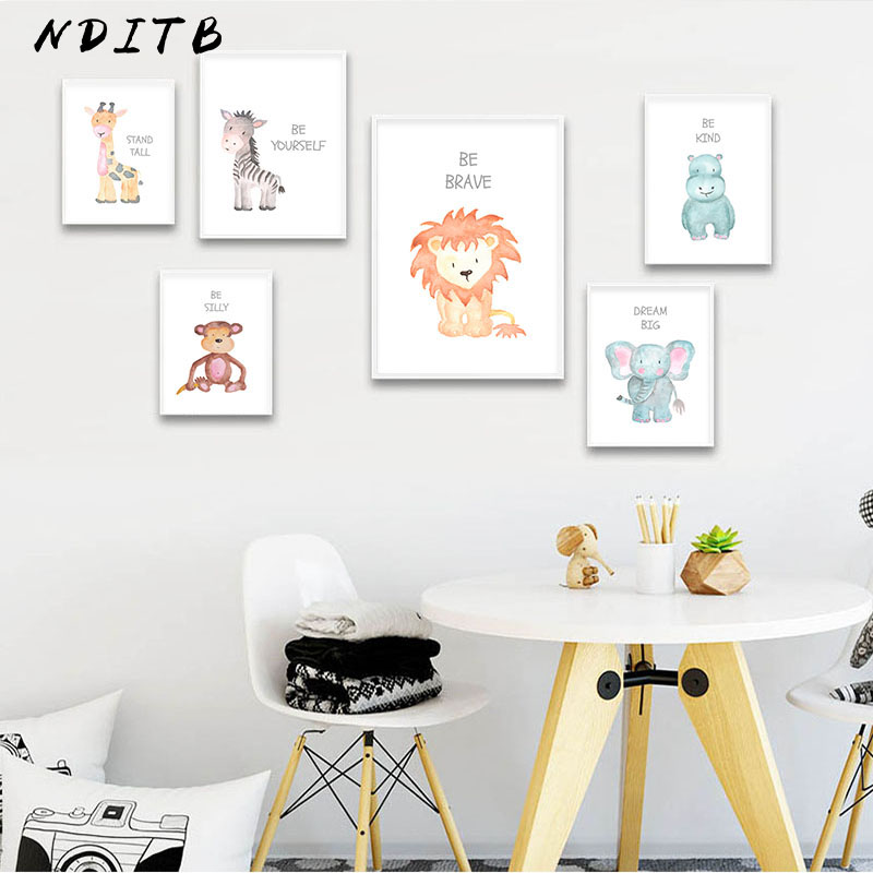 Watercolor Baby Animal Nursery Canvas Poster Wall Art Print Painting Nordic Kids Decoration Picture Children Bedroom Decor
