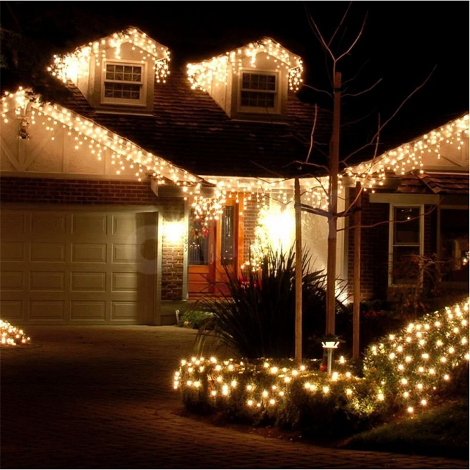 Christmas Outdoor Icicle Decoration Lights 4m Droop 0.4-0.6m Led Curtain String Lights Garden House Xmas Party Decorative Lights