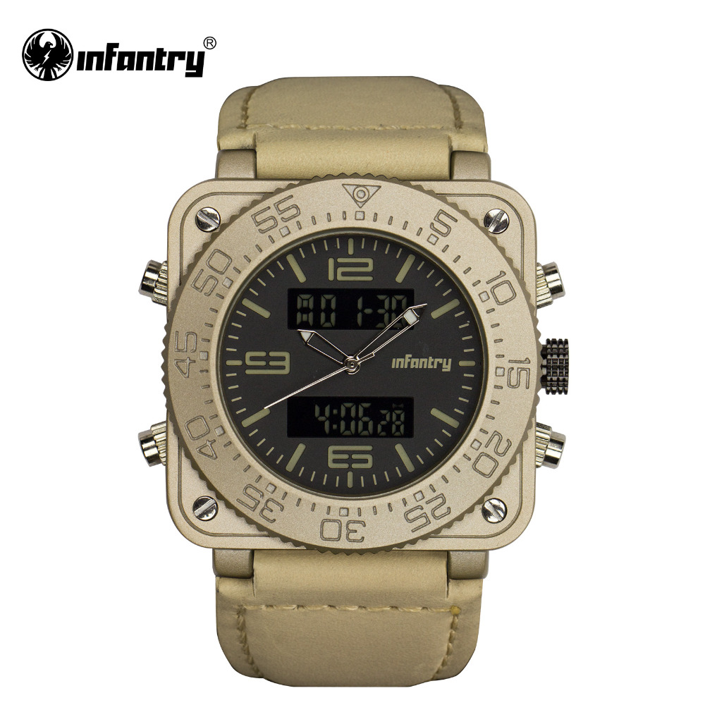INFANTRY Mens Watches Top Brand Luxury Military Watch Men Digital LED Wristwatch Square Gold Army Leather Relogio Masculino infantry military watch men square digital led wristwatch mens watches top brand tactical army sport nylon relogio masculino
